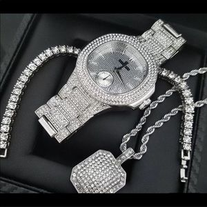 Other - Iced Out White Gold 4 Pc Watch Bracelet Chain Set